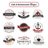 Cafe And Restaurant Logos Vintage Design Stock Photography
