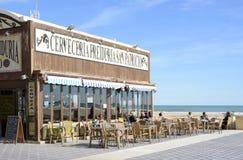 Cafe Restaurant on Malvarossa Beach. Valencia. Spain Royalty Free Stock Images