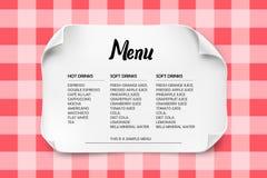 Cafe or Restaurant menu design with curved paper on a tablecloth. Cafe or Restaurant menu design with curved paper on a tablecloth Royalty Free Stock Image