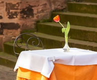 Cafe restaurant table and chair outdoors Royalty Free Stock Photography