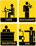 Cafe, Restaurant, Taxi, Reception - signs Royalty Free Stock Photo