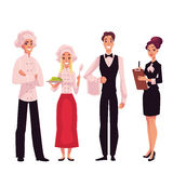 Cafe or restaurant team - chef, cook, waiter and manager. Cartoon vector illustration isolated on white background. Full length portraits of restaurant workers Stock Images