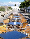 Cafe Restaurant Terrace with a view. Tables and chairs on a terrace of an outdoor cafe restuarant with a view in spain Stock Photos