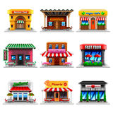 Cafe and restaurants icons vector set. Cafe and restaurants icons detailed photo realistic vector set Stock Photo
