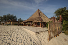 Cafe and resterant on a tropical beach - travel background Royalty Free Stock Image