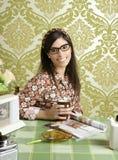 Cafe retro woman kitchen coffee with magazine Royalty Free Stock Photos