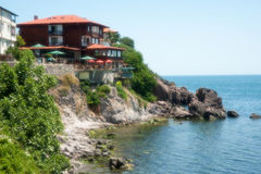 Cafe on the rocky shore in the Sozopol, Bulgaria Royalty Free Stock Photography