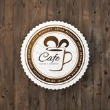 Cafe round sign. Can be used as logo, emblem, stamp or other design. Vector illustration Royalty Free Stock Photography