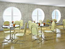 Cafe with round windows. Cafe with big round windows and furniture Royalty Free Stock Image
