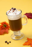 Cafe Royal Cocktail - Coffee Warmers. Closeup of tasty Cafe Royal Cocktail, Baileys, Drambuie, Tia Maria, coffee and whipped cream - Coffee Warmers series royalty free stock photo