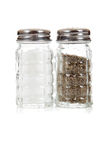 Cafe salt and pepper shakers on white background Royalty Free Stock Photo