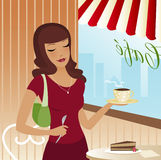 Cafe Scene. Woman in a cute cafe with pie and coffee - JPEG, AI & EPS formats Stock Illustration