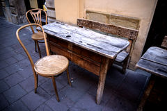 Cafe with school desks for table in Krakow Poland. The city of Krakow is known as the city of churches. The abundance of landmark, historic temples along with royalty free stock photo