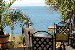 Cafe by the sea. At the resort in Bulgaria Sazopol Royalty Free Stock Photo
