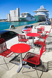 Cafe in the sea port Royalty Free Stock Photography