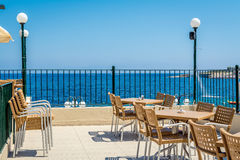 Cafe with the sea view in Bugibba Stock Photography