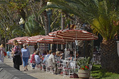 Cafe on seafront promenade in Funchal, Madeira, Portugal Stock Photo