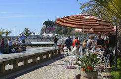 Cafe on seafront promenade in Funchal, Madeira, Portugal Stock Image