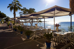Cafe on the seafront in Side, Turkey Stock Image