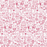 Cafe. Seamless hand drawn doodle pattern Royalty Free Stock Image