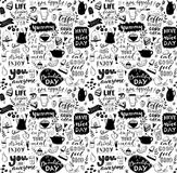 Cafe seamless pattern. Hand drawn tea and coffee pots, desserts and inspirational captions. Menu cover design, wallpaper. Stencil. Black and white typography Royalty Free Stock Image