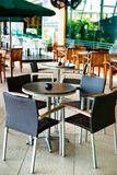 Cafe Series. Modern Outdoor Cafe Tables and Chairs Stock Photos