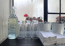 Cafe Service Area By Rainy Window Stock Image