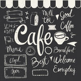 Cafe Set. Set of design elements for a cafe. Handmade. Unique lettering. Figure. Vector eps 10 Royalty Free Stock Images