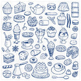 Cafe Set hand drawn doodle elements Royalty Free Stock Photography