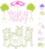 Cafe Set Vector. Coffee tea Cafe Set Vector Illustration royalty free illustration