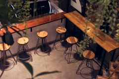 Free Cafe Shop Chair At Night, High Shape For Drinking. Stock Images - 123181874