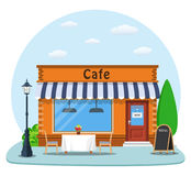 Cafe shop exterior. Street restraunt building. Cityscape, buildings, clouds. Vector illustration in flat style royalty free illustration