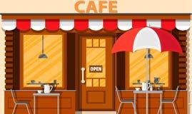 Cafe shop exterior. Street restraunt building. Vector illustration in flat style stock illustration