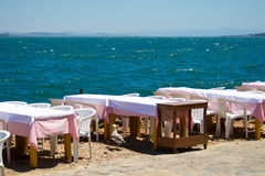 Cafe at side of sea Royalty Free Stock Image