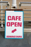 Cafe Sign. A sign pointing to the cafe below stock image