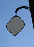 Cafe sign. Street empty cafe sign on blue sky. Put your text here royalty free stock photo