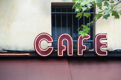 Cafe sign. An illuminated cafe sign in Paris Royalty Free Stock Photo