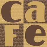 Cafe Sign. Four squares showing the word cafe and the word coffee in several different languages in the background for use for scrapbooking, stationery and card Royalty Free Stock Images