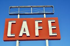 Cafe sign in Texas. Royalty Free Stock Photo