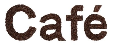 Cafe sign from coffee beans Royalty Free Stock Images