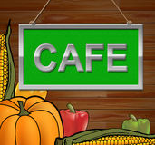 Cafe Sign Indicates Cafes Cafeterias And Message Royalty Free Stock Photography