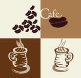 Cafe sign with Mugs and Beans vector illustration