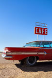 Cafe Sign and Old Car on Route 66 Royalty Free Stock Photography