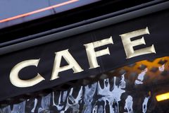 Cafe Sign, Paris Stock Photo