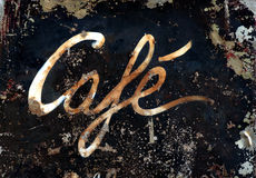 Cafe sign. On rusty metal Royalty Free Stock Photo