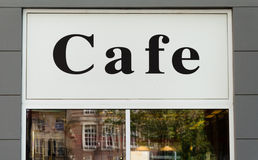 Cafe sign on the window. Of the restaurant Royalty Free Stock Photography