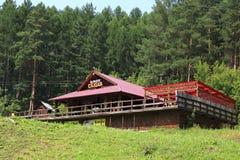 Cafe Skazka at the foot of Mount Tserkovka Royalty Free Stock Images