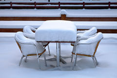 Cafe with snow. Winter. Stock Photo