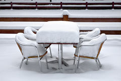 Cafe with snow. Winter landscape. Stock Image