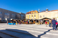 Cafe on the Square of Cyril and Methodius in the center of Bourgas in Bulgaria royalty free stock image